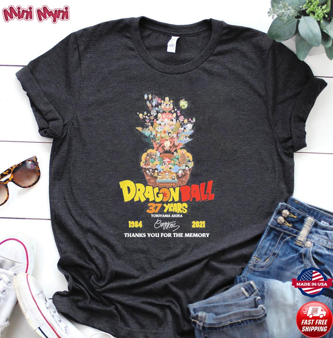 Dragon Ball 37 years Toriyama Akira 1984 2021 signature thanks you for the memories shirt
