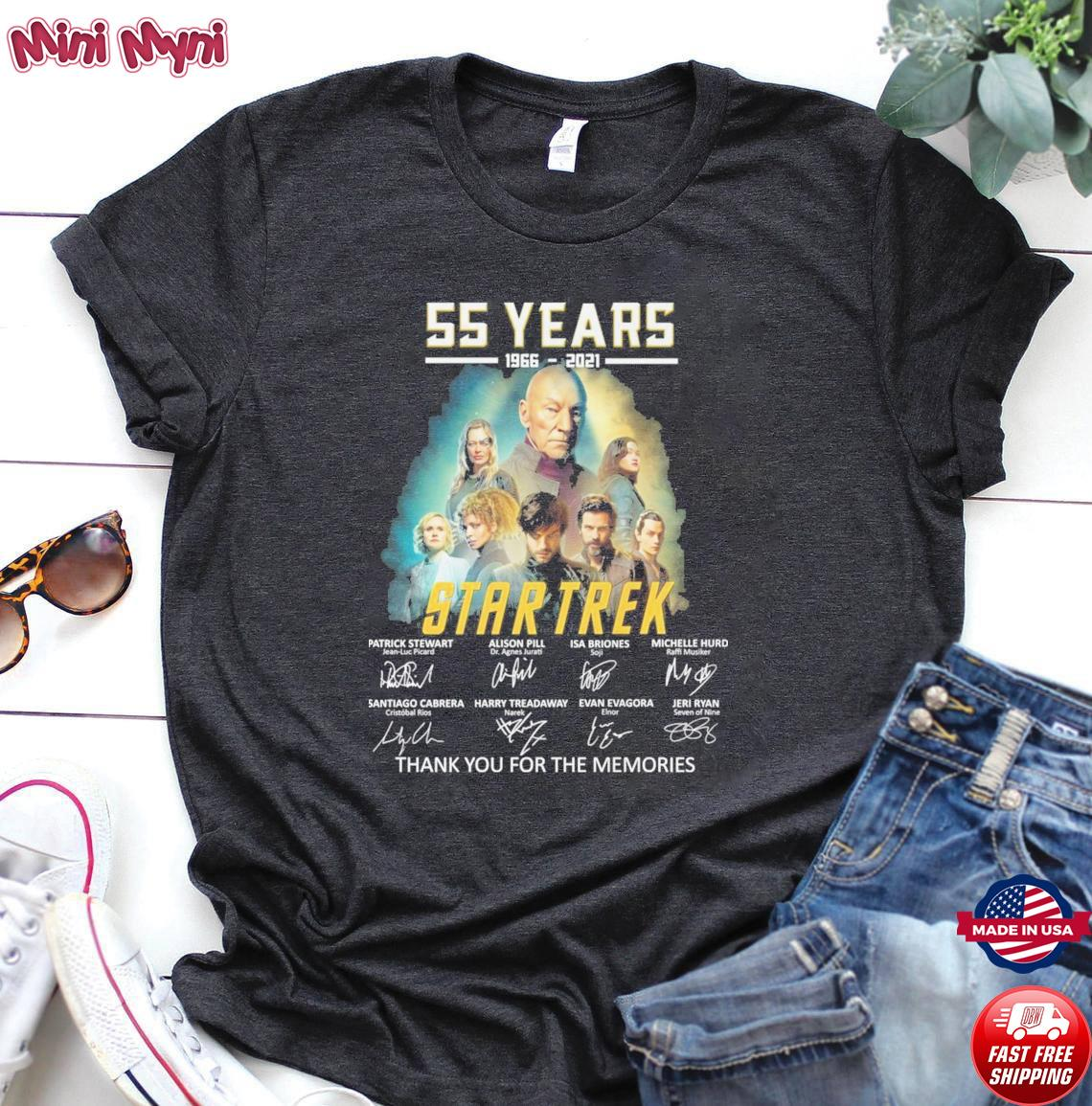 Official The Star Trek Movie characters 55 years 1966 2021 signature thank you for the memories shirt