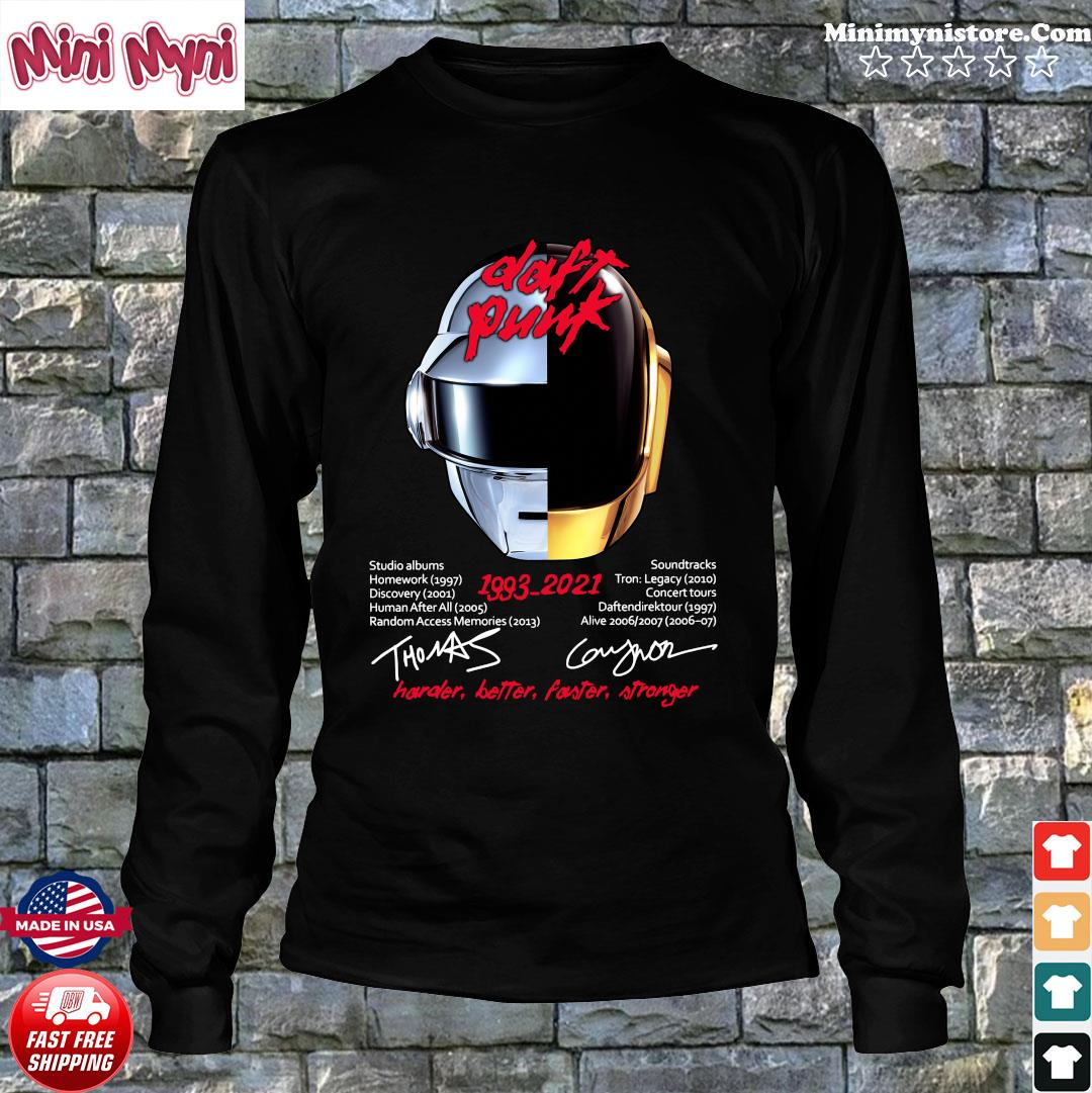 Daft Punk 1993 2021 Signatures Harder Better Faster And Stronger Shirt Long Sweater