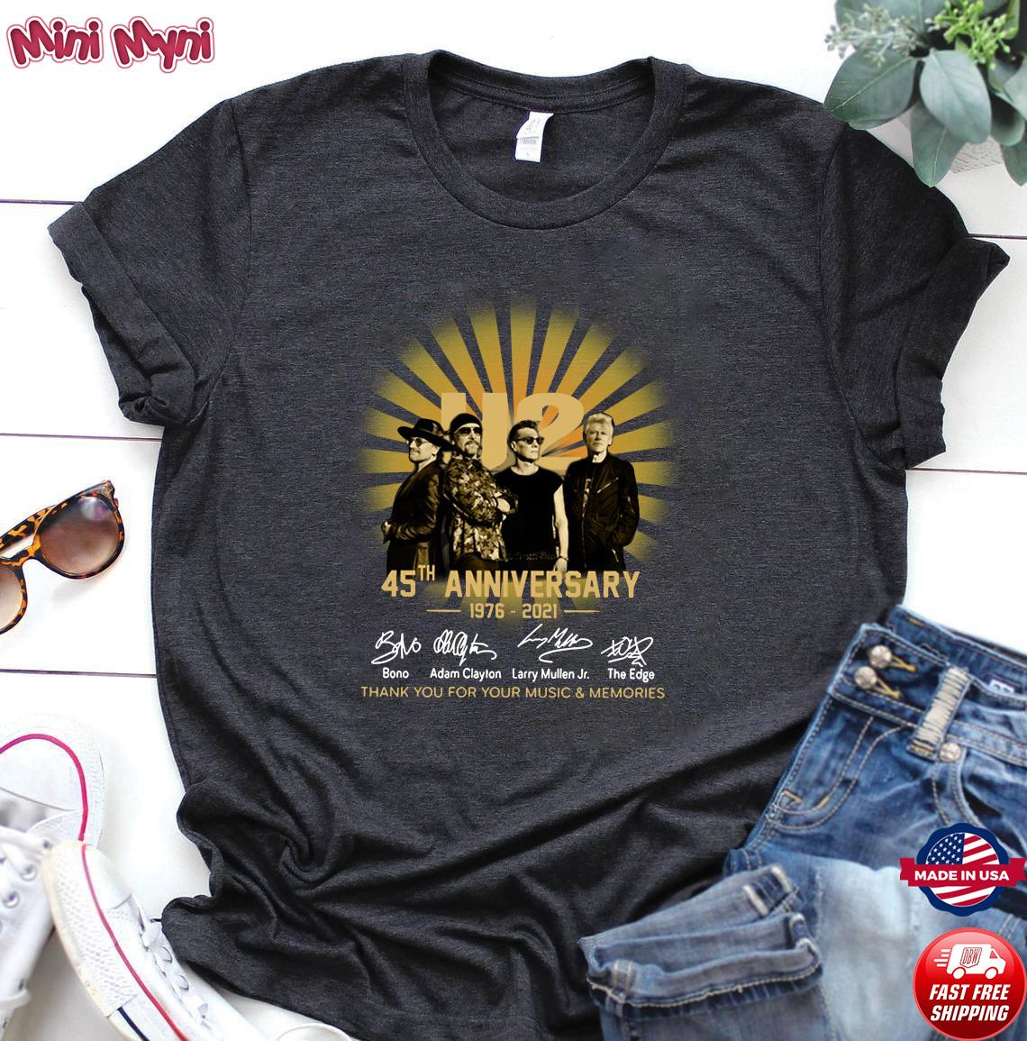 Official U2 45th Anniversary 1976 2021 Signatures Thank You For Your Music And Memories Shirt