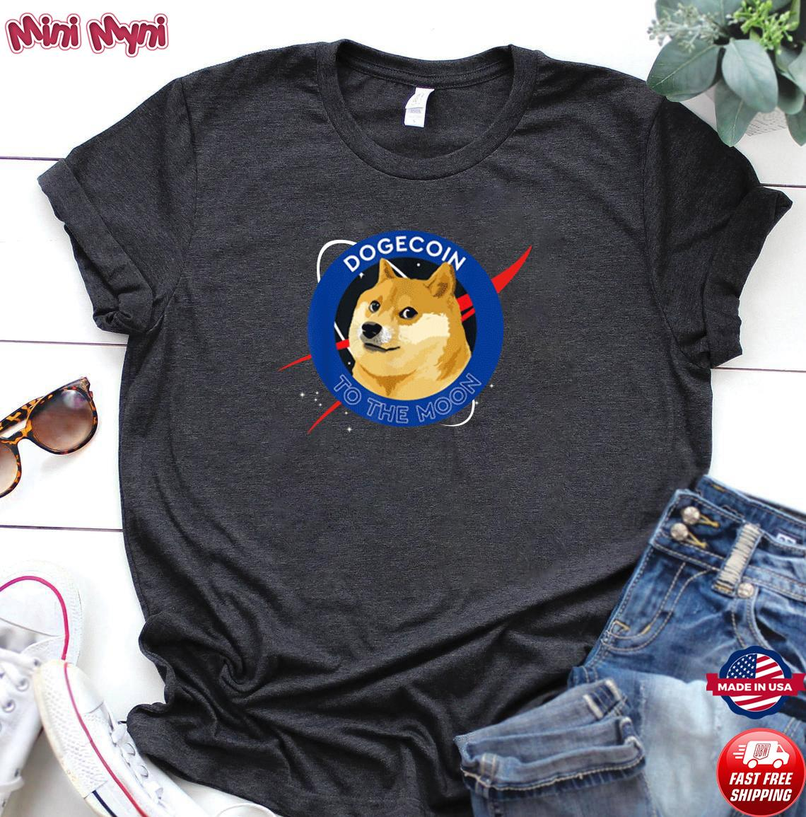 Official Dogecoin To The Moon Funny Crypto Meme Shirt