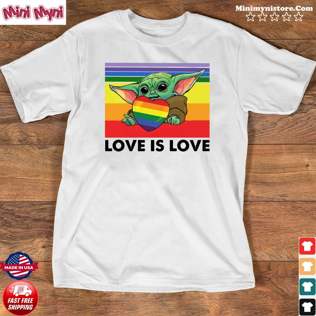 Official Star Wars Baby Yoda Hug Heart LGBT Love Is Love Vintage Shirt